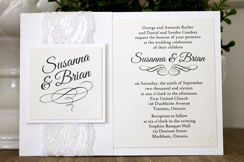 Wedding Invitation 1546: Cream Smooth, Great Vibes, High Tower, Antique Ribbon, White Lace