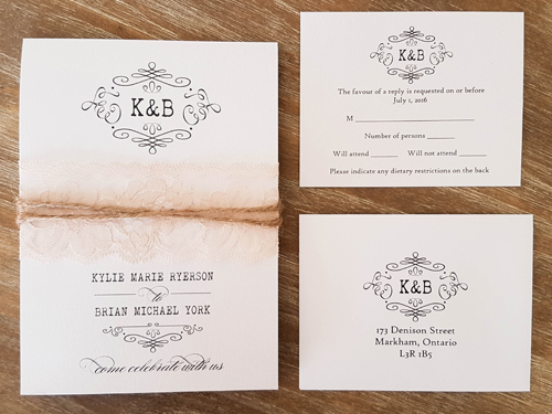 Wedding Invitation 1607: Ice Pearl, Ice Pearl, Cream Lace