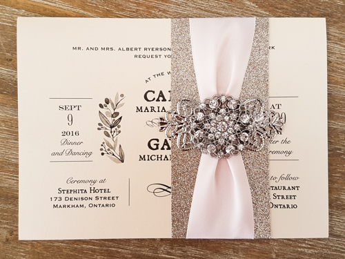 Wedding Invitation 1613: Buttermilk Pearl, Buttermilk Pearl, Petal Pink Ribbon, Brooch/Buckle X, Metal Filigree F4 - Silver