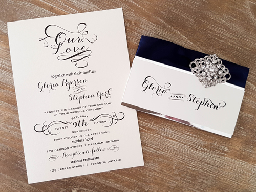 Wedding Invitation 1616: White Gold, White Gold, Navy Ribbon, Brooch/Buckle A9, Metal Filigree F2 - Silver