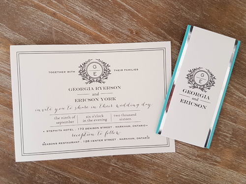Wedding Invitation 1631: White Gold, White Gold