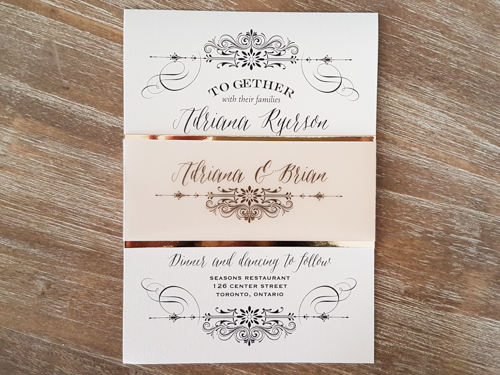 Wedding Invitation 1634: White Gold, White Gold