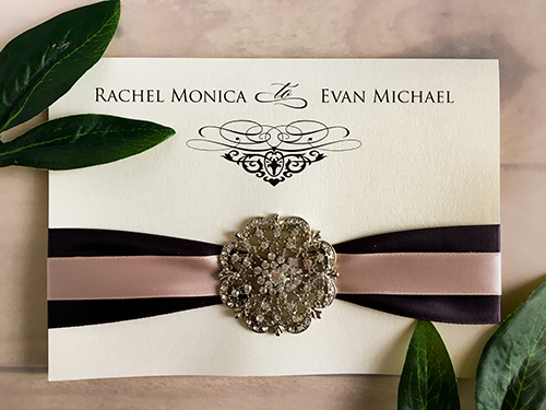 Wedding Invitation 1641: White Gold, White Gold, Deep Charcoal Ribbon, Deep Blush Ribbon, Brooch/Buckle A20
