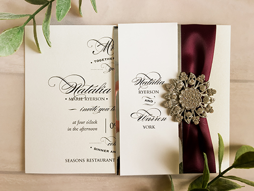 invitation wrappedupindetails glitter wedding by and invitations silver pin blush brooch