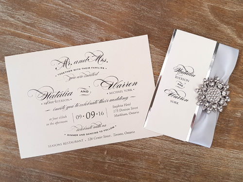 Wedding Invitation 1649: White Gold, White Gold, Silver Ribbon, Brooch/Buckle A11