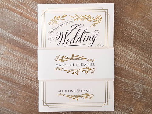 Wedding Invitation 1651: White Gold, White Gold