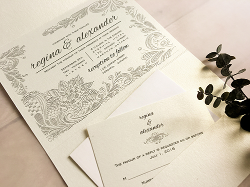 Wedding Invitation 1656: White Gold, White Gold