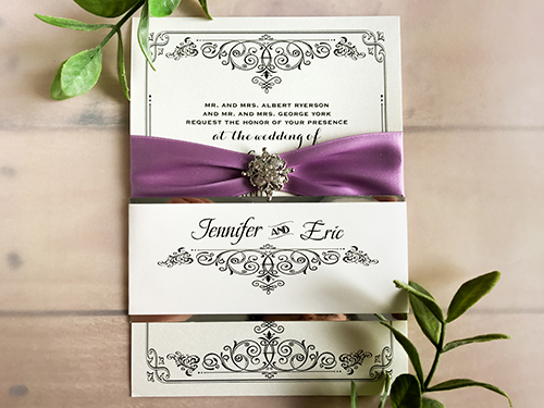 Wedding Invitation 1666: White Gold, White Gold, Lavender Ribbon, Brooch/Buckle A8