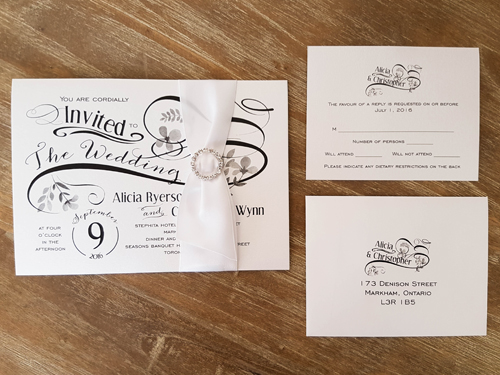 Wedding Invitation 1667: Ice Pearl, Ice Pearl, White Ribbon