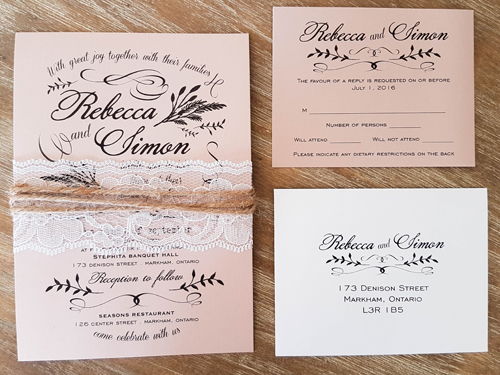 Wedding Invitation 1668: Blush Pearl, Blush Pearl, White Lace