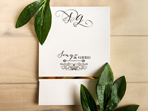 Wedding Invitation 1669: Ice Pearl, Gold Mirror, Ice Pearl