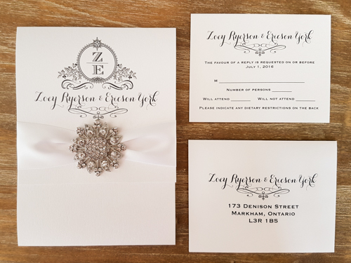 Wedding Invitation 1687: Ice Pearl, Ice Pearl, White Ribbon, Brooch/Buckle A11