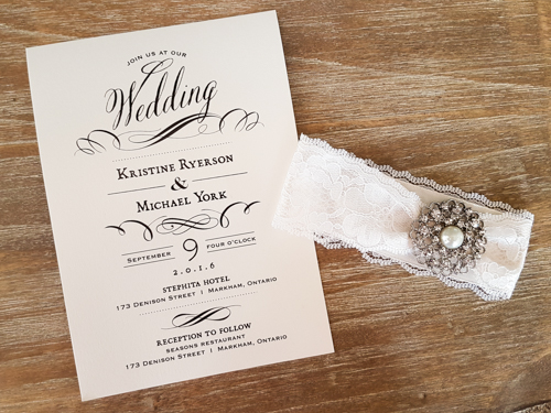 Wedding Invitation 1691: White Gold, White Gold, White Lace, Brooch/Buckle A6