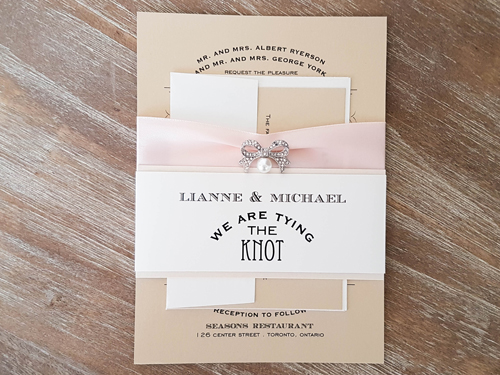 Wedding Invitation 1692: Gold Dust, Gold Dust, Petal Pink Ribbon, Brooch/Buckle A12