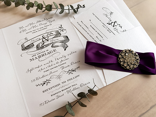 Wedding Invitation 1693: Ice Pearl, Ice Pearl, Purple Ribbon, Brooch/Buckle X