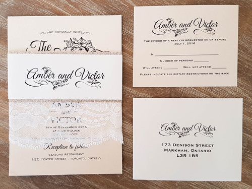 Wedding Invitation 1695: Buttermilk Pearl, Buttermilk Pearl, White - Thick Lace