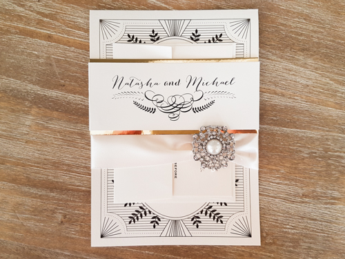 Wedding Invitation 1713: White Gold, White Gold, Antique Ribbon, Brooch/Buckle Q