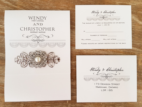 Wedding Invitation 1723: Ice Pearl, Ice Pearl, Brooch/Buckle Q, Metal Filigree F4 - Silver