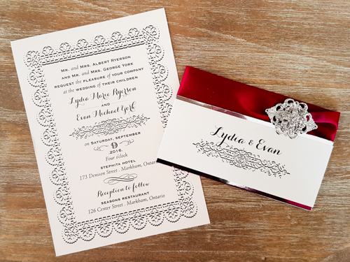 Wedding Invitation 1726: Ivory Pearl, Ivory Pearl, Sherry Ribbon, Brooch/Buckle A8, Metal Filigree F1 - Silver