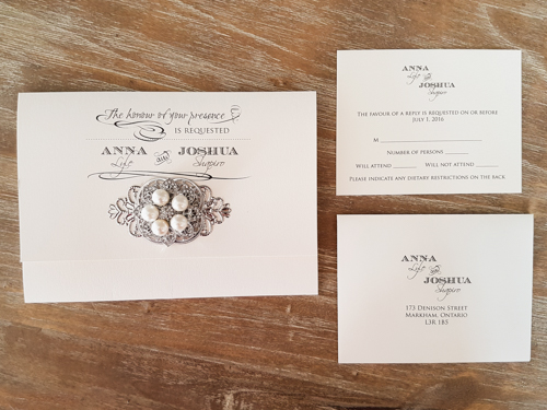 Wedding Invitation 1739: White Gold, White Gold, Brooch/Buckle T, Metal Filigree F4 - Silver