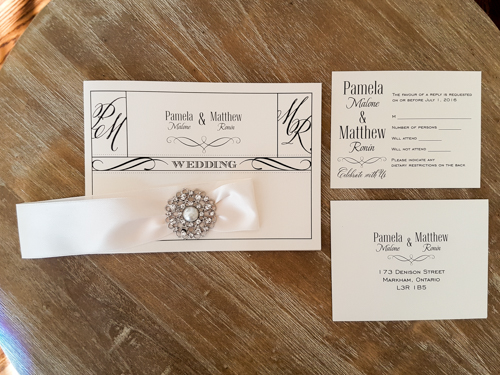 Wedding Invitation 1747: White Gold, White Gold, Antique Ribbon, Brooch/Buckle A7