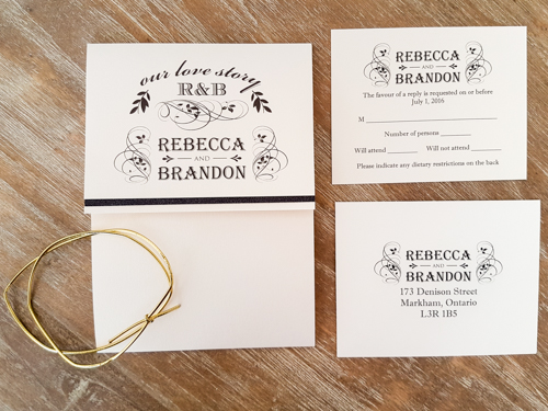 Wedding Invitation 1749: White Gold, Black Glitter, White Gold