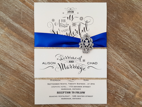 Royal Blue And Gold Wedding Invitations: Wedding Invitation 1756: White Gold, White Gold