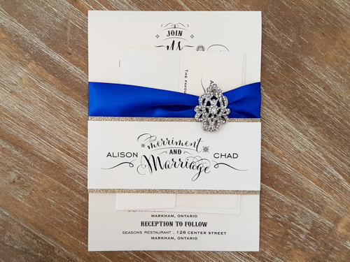 Wedding Invitation 1756: White Gold, White Gold, Royal Blue Ribbon, Brooch/Buckle A17
