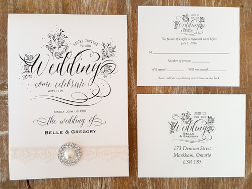 Wedding Invitation 1761: Ivory Pearl, Ivory Pearl, Cream - Thin Lace, Brooch/Buckle G