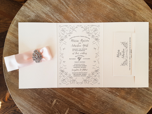 Wedding Invitation 1786: White Gold, White Gold, Petal Pink Ribbon, Brooch/Buckle A17