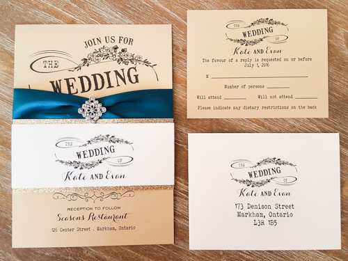 Wedding Invitation 1791: Gold Dust, Gold Dust, Teal Ribbon, Brooch/Buckle A22