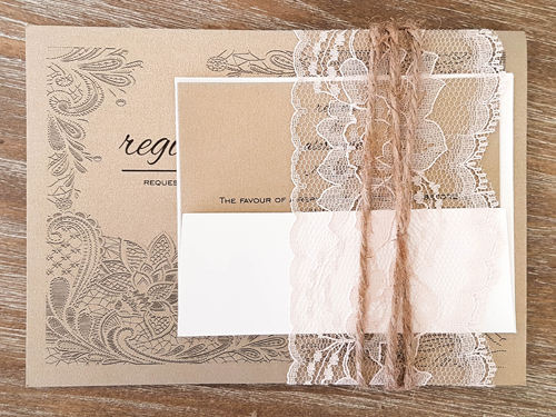 Wedding Invitation 1835: Gold Pearl, Gold Pearl, Cream - Thick Lace