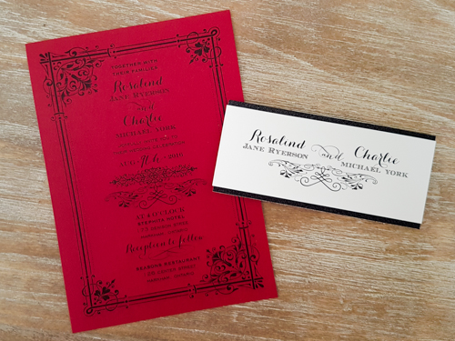 Wedding Invitation 1849: Red Lacquer, Red Lacquer