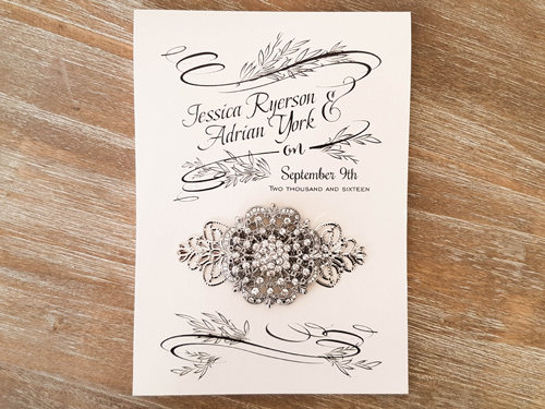 Wedding Invitation 1860: White Gold, White Gold, Brooch/Buckle A20, Metal Filigree F4 - Silver