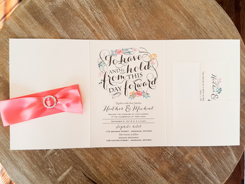 Wedding Invitation 1868: White Gold, White Gold, Coral Ribbon, Brooch/Buckle L