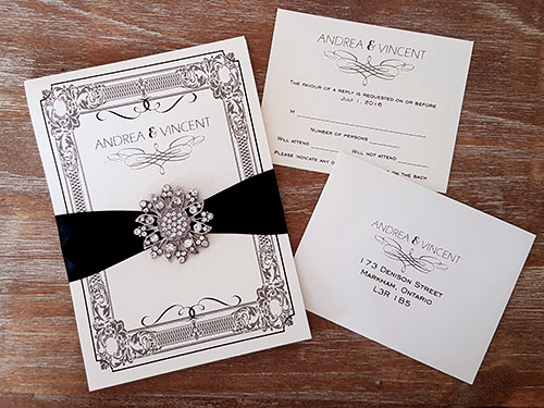 Wedding Invitation 1869: White Gold, White Gold, Black Ribbon, Brooch/Buckle A11