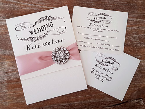 Wedding Invitation 1877: White Gold, White Gold, Deep Blush Ribbon, Brooch/Buckle X