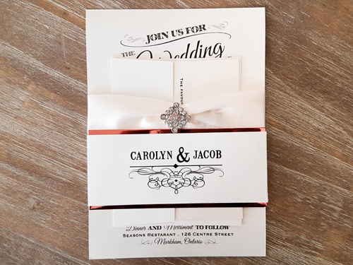 Wedding Invitation 1886: White Gold, White Gold, Antique Ribbon, Brooch/Buckle A22