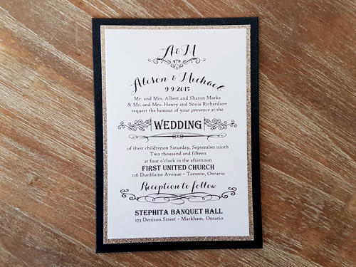 Wedding Invitation 1898: Black Glitter, Champagne Glitter