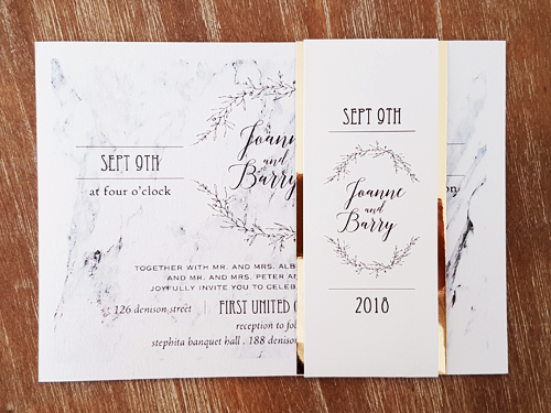 Wedding Invitation 2000: Ice Pearl, White Smooth