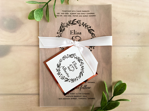 Wedding Invitation 2013: Wood, Rose Gold Mirror, Vellum, White Ribbon