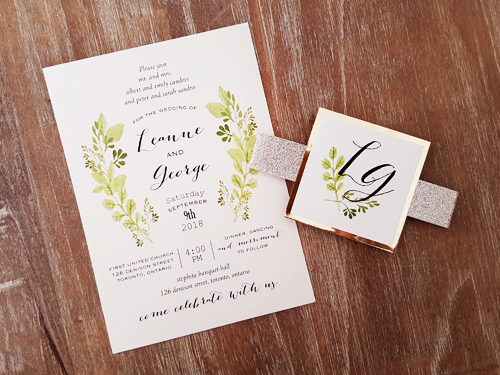 Wedding Invitation 2018: White Gold, Gold Mirror, Cream Smooth