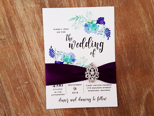 Wedding Invitation 2019: Ice Pearl, Purple Ribbon, Brooch/Buckle A17
