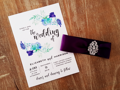 Wedding Invitations With Purple Ribbon: Wedding Invitation 2019: Ice Pearl, Purple Ribbon