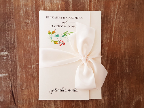Wedding Invitation 2033: White Gold, Antique Ribbon