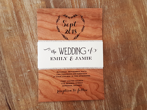 Wedding Invitation 2041: Wood, Cream Smooth