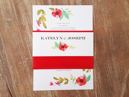 Wedding Invitation 2046: Ice Pearl, White Smooth, Red Ribbon, Red Ribbon