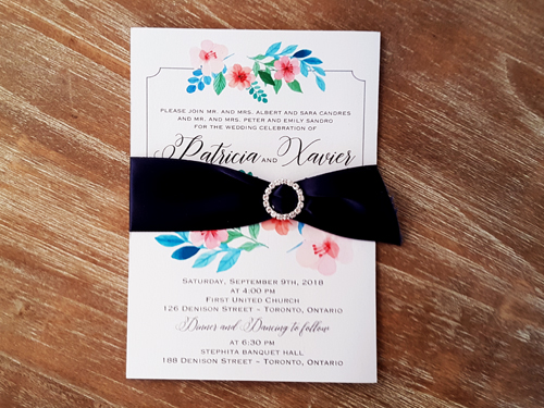 Wedding Invitation 2049: Ice Pearl, Navy Ribbon, Brooch/Buckle L