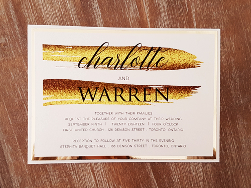 Wedding Invitation 2053: White Gold, Gold Mirror, White Gold