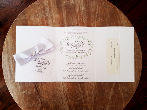Wedding Invitation 2059: Ice Pearl, Vellum, Silver Ribbon, Brooch/Buckle F